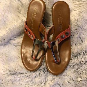 A.Giannetti Orange Strap/Gold Stud Wedge Sandals.